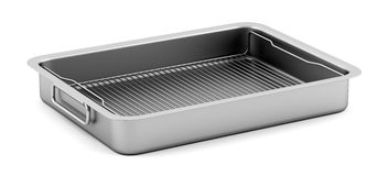 Metallic baking dish  on white Royalty Free Stock Photo