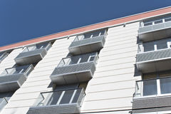Metallic balconies on building Stock Photos