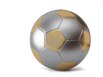 Metallic ball. Ball for soccer with golden pentagon and grey hexagon Stock Photos