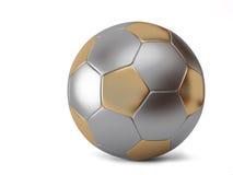 Metallic ball. Ball for soccer with golden pentagon and grey hexagon stock illustration