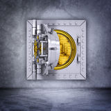 Metallic bank vault door Stock Photo
