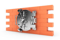 Metallic Bank Vault Door over the Brick Wall Royalty Free Stock Photos