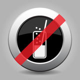 Metallic banned button, carbonated drink and straw Stock Photos