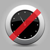 Metallic banned button, white last minute clock. Black and gray metallic button with shadow. White last minute clock banned icon vector illustration