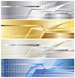 Metallic banner. Four variants metallic banner from gold, silvers, dark blue steel with a bar, lines and abstract elements royalty free illustration