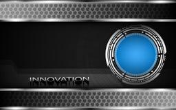 Metallic banner bar design and innovation 3d text background Stock Photos
