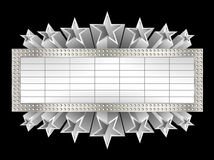Metallic banner. With silver stars Stock Photos