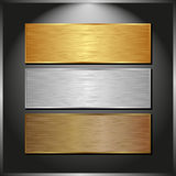 Metallic banners. Dark panel with three metallic banners Royalty Free Stock Photos