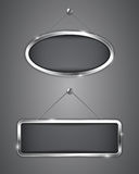 Metallic banners. Hanging on the wall. Blank tablets. Vector illustration Royalty Free Stock Image