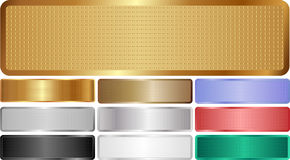 Metallic banners. Set of isolated metallic banners with grid texture Royalty Free Illustration
