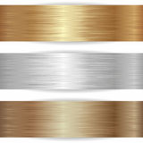 Metallic banners. Three metallic banners on white background Stock Images