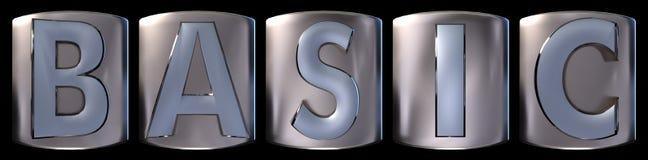 Metallic basic word. Metallic blue silver basic word realistic 3d rendered on black background Royalty Free Stock Photos