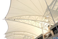 Metallic beams supporting the roof in grandstand Stock Photo