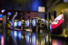 Metallic beer taps Stock Image