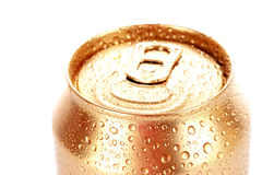 Metallic beer with water drops Stock Image