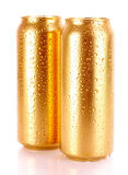 Metallic beer with water drops isolated Royalty Free Stock Photo