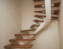 Metallic beige string - a design for the construction of the stairs in the house. Royalty Free Stock Photography