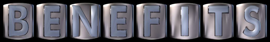 Metallic benefits word. Metallic blue silver benefits word realistic 3d rendered on black background Stock Photos