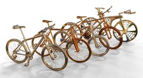 Metallic Bicycles Royalty Free Stock Images