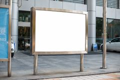 Metallic billboard. Place for your message. Advertising banner i. N the city royalty free stock images