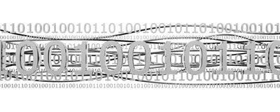 Metallic binary code. 3D metallic binary code with dark fibres isolated on white Royalty Free Stock Image