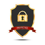 Metallic black golden shield with lock. Icon isolated on white background Stock Photography