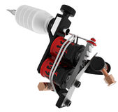 Metallic black tattoo machine with red fire coil Royalty Free Stock Photos