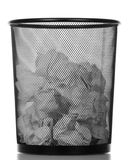 Metallic black trash can isolated on white. Stock Image