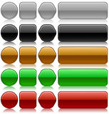 Metallic blank buttons. Metallic embossed blank buttons  set in different colors and shapes Stock Images