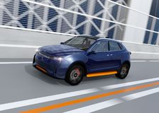 Metallic blue autonomous electric SUV driving on the highway. 3D rendering image stock illustration