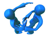 Metallic Blue Boy meet a friend Stock Photo