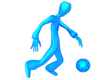 Metallic Blue character play football Royalty Free Stock Photography