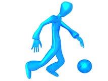 Metallic Blue character play football Royalty Free Stock Photography