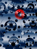 Metallic blue cogs and a red one background Royalty Free Stock Photo