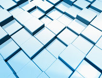 Metallic blue cube background. 3d render Stock Photography