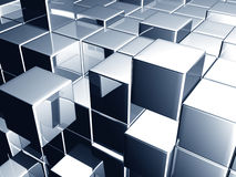 Metallic blue cube dynamic background. 3d illustration Royalty Free Stock Photography