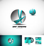 Metallic blue 3d sphere broken logo icon Royalty Free Stock Image
