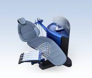 Metallic blue dental unit equipment isolated on light blue background Royalty Free Stock Images