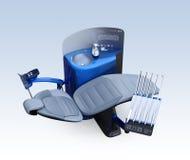 Metallic blue dental unit equipment  on light blue background Stock Image