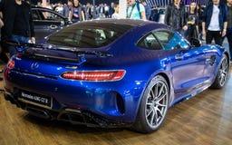 Metallic blue Mercedes AMG GT R on 54th Belgrade international car and motor stock images
