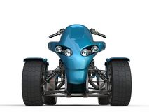 Metallic blue quad bike - front view closeup shot Royalty Free Stock Images