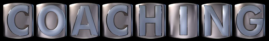 Metallic coaching word. Metallic blue silver coaching word realistic 3d rendered on black background Stock Photography
