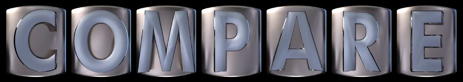 Metallic compare word. Metallic blue silver compare word realistic 3d rendered on black background Stock Images