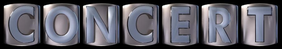 Metallic concert word. Metallic blue silver concert word realistic 3d rendered on black background Royalty Free Stock Photo