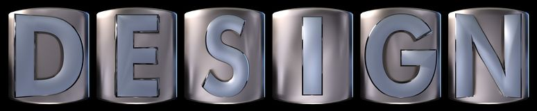 Metallic design word. Metallic blue silver design word realistic 3d rendered on black background Stock Images