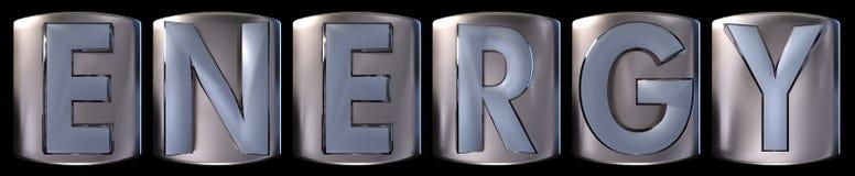 Metallic energy word. Metallic blue silver energy word realistic 3d rendered on black background vector illustration