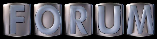 Metallic forum word. Metallic blue silver forum word realistic 3d rendered on black background Stock Photo