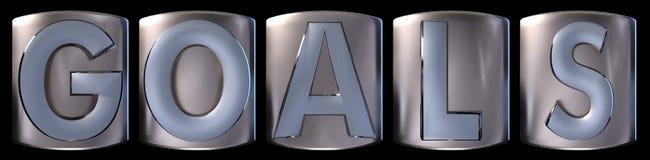 Metallic goals word. Metallic blue silver goals word realistic 3d rendered on black background stock illustration