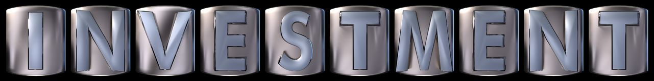 Metallic investment word. Metallic blue silver investment word realistic 3d rendered on black background Stock Photography