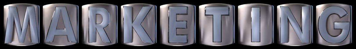 Metallic marketing word. Metallic blue silver marketing word realistic 3d rendered on black background Royalty Free Stock Image